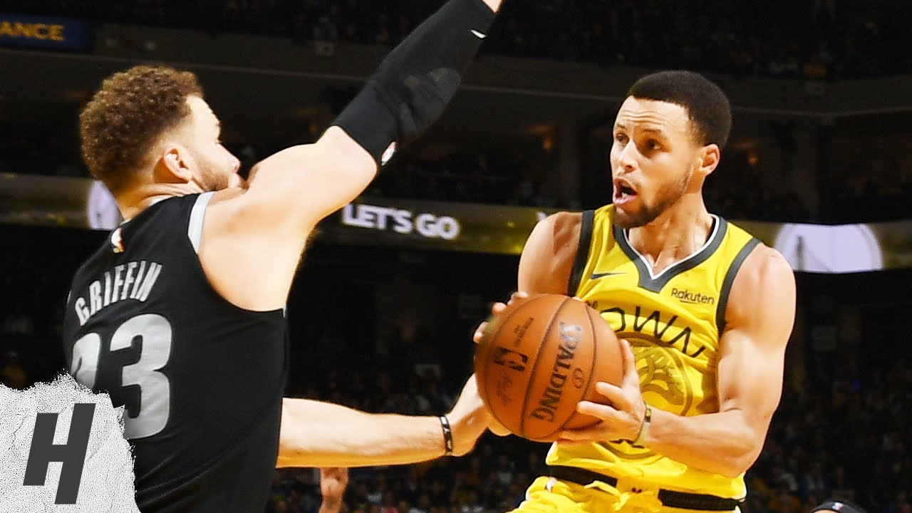 Steph Curry verdedigt door Blake Griffin
